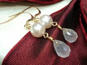 あこや本真珠 ローズクオーツ k14gfピアスの画像