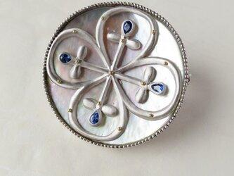 SV  Sapphire Button  ブローチの画像