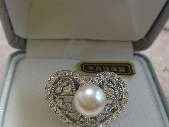あこや本真珠 ハートピンバッチ8.5ミリupの画像