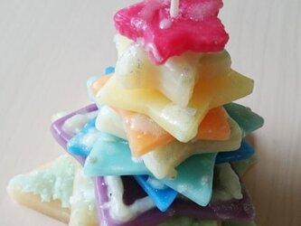 Rainbow Christmas tree candleの画像