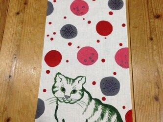 手描き染め 猫と雪 手ぬぐいの画像
