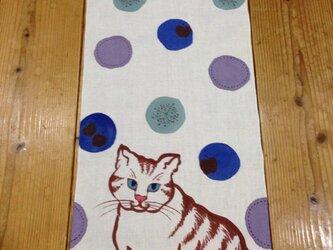 手描き染め~猫と雪~手ぬぐいの画像