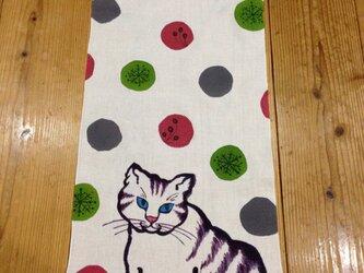 手描き染め~ 猫と雪~手ぬぐいの画像