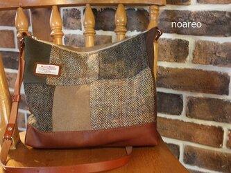 ハリスツィードと倉敷帆布のパッチショルダーバッグの画像