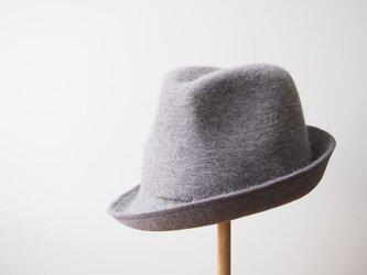 【受注製作】Stitched Soft Hat - light grey × blueの画像