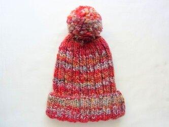 SALE 手紡ぎ糸のニット帽 H-042の画像