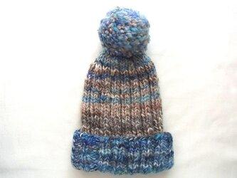 SALE 手紡ぎ糸のニット帽 H-081の画像