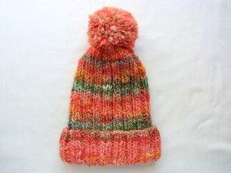 SALE 手紡ぎ糸のニット帽 H-101の画像