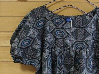 大島紬 小紋パフ袖OP 着物リメイクの画像
