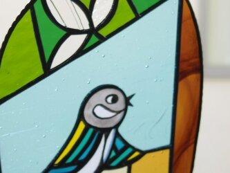 サンキャッチャー「シジュウカラとハクモクレン(右向き)」の画像