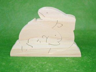 木のおもちゃ 動物組み木 ヤマメの兄弟の画像