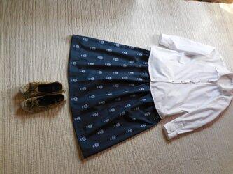 どくろの久留米絣のスカート ミディアム(アンティークブルー)の画像