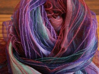 シルク100% 手染めストール Purple-01の画像
