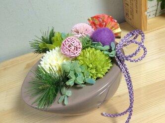 ポンポン❤︎ピンポンマムアレンジ【プリザ+造花】の画像