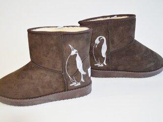 ペンギン ボアブーツ、靴、ダークブラウン、オリジナルデザイン、シルクスクリーン、冬物ブーツの画像