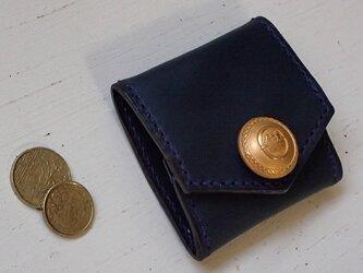 アンティークボタンとイタリアンレザーのスクエアコインケース ネイビー×パープルの画像