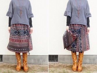 フリンジつき・イカットの毎日スカート(巻きスカート風・L)の画像