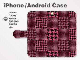 iPhone7/7Plus/Android全機種対応 スマホケース 手帳型 和柄-千鳥柄-ビビッド ピンク-桃 0603の画像