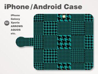iPhone7/7Plus/Android全機種対応 スマホケース 手帳型 和柄-千鳥柄-ビビッド 青緑 0606の画像