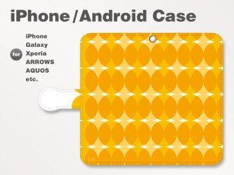 iPhone7/7Plus/Android全機種対応 スマホケース 手帳型 北欧風-和柄-ドット-七宝風 オレンジ-橙 0902の画像