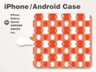 iPhone7/7Plus/Android全機種対応 スマホケース 手帳型 北欧風-ドット-波-曲線 レッド-赤 1107の画像