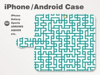 iPhone7/7Plus/Android全機種対応 スマホケース 手帳型 北欧風-ブランドロゴB 青緑 1706の画像