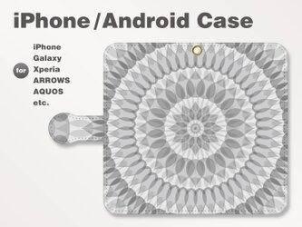 iPhone7/7Plus/Android全機種対応 スマホケース 手帳型 北欧風-花-フラワー モノトーン-白黒 2408の画像