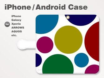 iPhone7/7Plus/Android全機種対応 スマホケース 手帳型 北欧風-ドット-水玉 シック 2602の画像