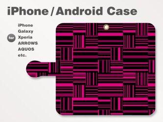 iPhone7/7Plus/Android全機種対応 スマホケース 手帳型 ボーダー-ストライプ-格子 ピンク-桃 2903の画像