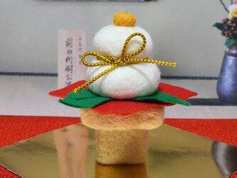 羊毛フェルトの鏡餅 金紐の画像