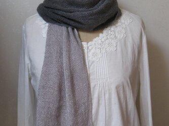 草木染め 手織りシルクストール(灰紫グラデーション)の画像