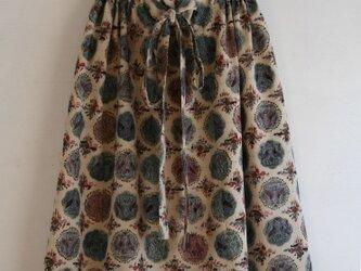 丸紋 ベージュ ギャザースカート Fサイズ2の画像