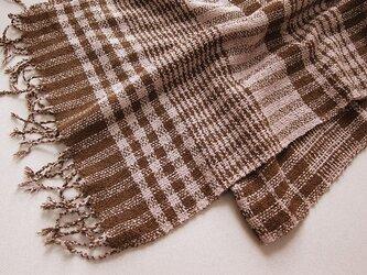 ☆セール第二弾☆ 手織り ウール混 切り換えチェックマフラー(ピンク×ブラウン)の画像