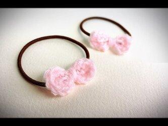 手編みリボンゴム、子ども用【2本セット】ピンクの画像