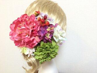 鮮やかなピオニーのヘッドドレス 全8パーツの画像