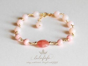 ローズブーケ~インカローズ&ピンクオパールのブレスレットの画像