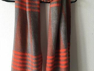 カシミヤストール オレンジ×ブラウン  オレンジの横縞入りの画像