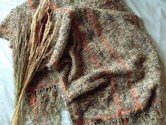 手織り ポンチョ ブラック・ブラウンの画像