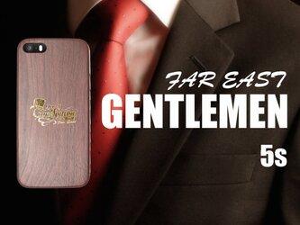 《FAR EAST GENTLEMEN》 iPhone5/5s 箔押しゴールド...超軽量ウッド調ケースの画像