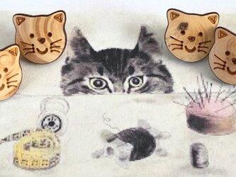 ネコのウッドボタン(フランス製)10個セットの画像