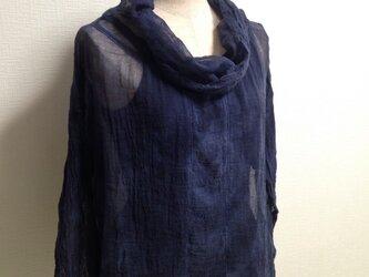 ふわふわえりのガーゼブラウス・紺 LLサイズ・の画像