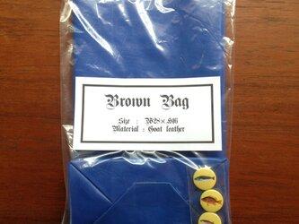 山羊革 ブルー ブラウンバッグ 缶バッチ付き クッキー袋型 ハンドバッグの画像