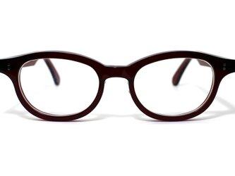男性向けワインレッド生地のセルロイドメガネ068-RRの画像