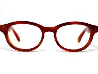 赤と茶色マーブル生地のセルロイドメガネ068-FFの画像
