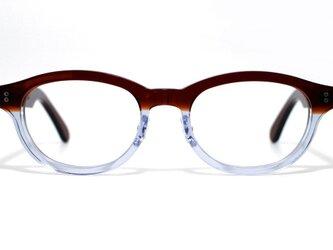 茶色と透明の希少二色生地使用のセルロイドメガネ068-CⅡCの画像
