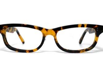 (男性向け)黄色と黒のマーブル模様のセルロイドメガネ050-バラフの画像