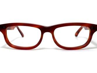 男性向け赤と茶色マーブル生地のセルロイドメガネ050-FFの画像