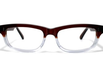 茶色と透明の希少二色生地使用のセルロイドメガネ050-CⅡCの画像