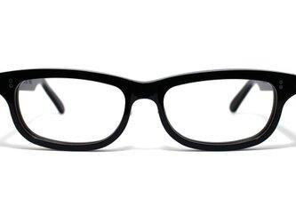 漆黒のようなダークブラウンのセルロイドメガネ050-BBの画像
