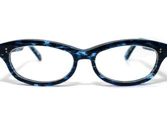 (超希少生地使用)男性向け、海のような青い生地のセルロイドメガネ048-OOの画像